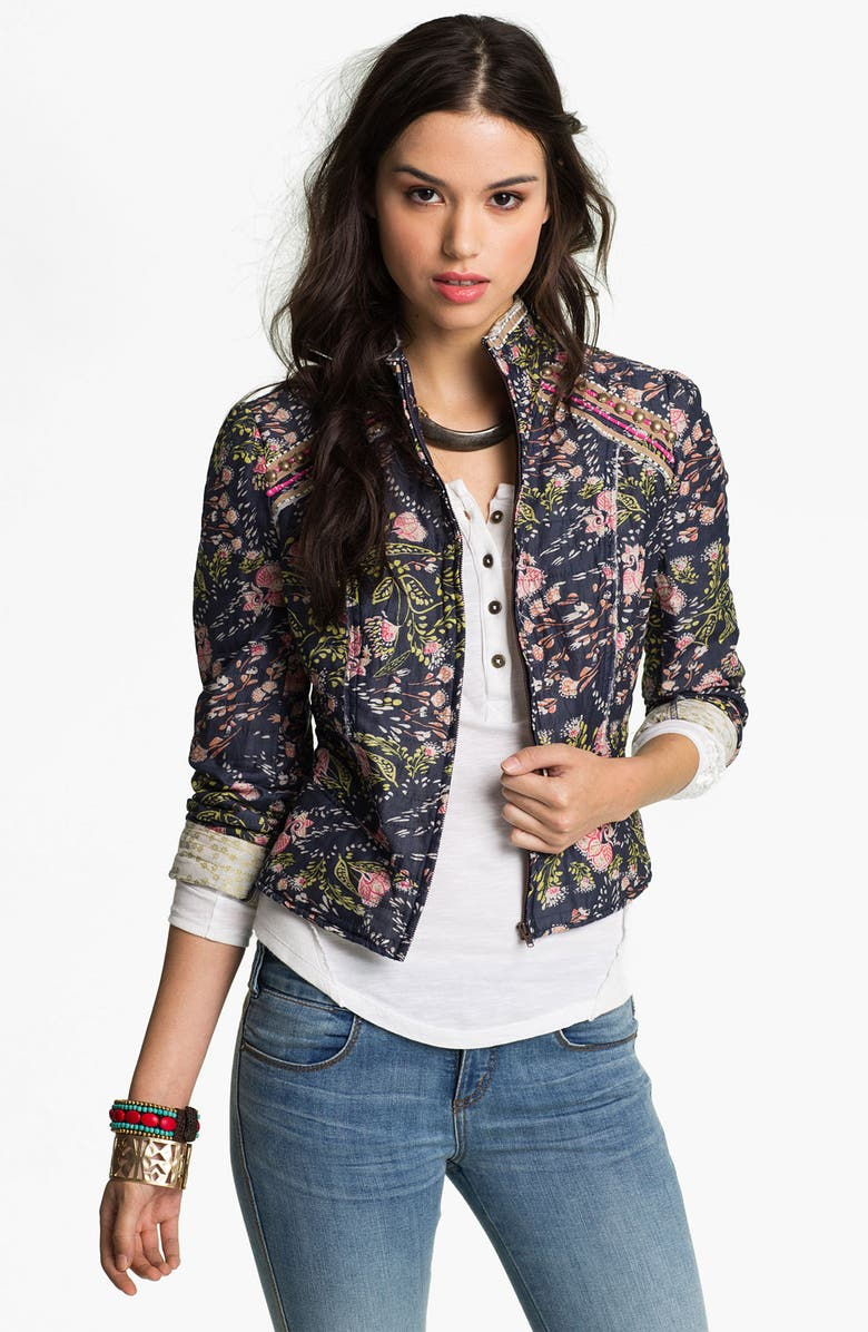 FREE PEOPLE 'Meadow' Quilted Voile Jacket, Main, color, NAVY COMBO