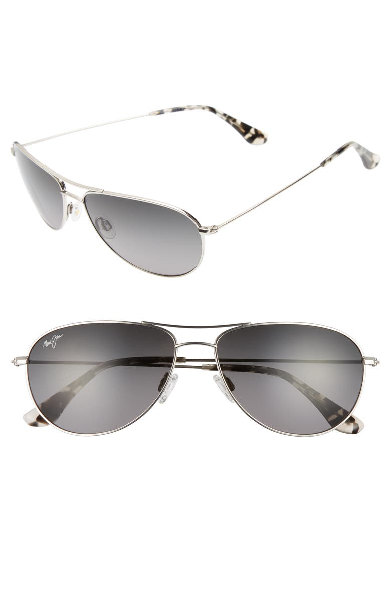 MAUI JIM Sea House 60mm PolarizedPlus2<sup>®</sup> Titanium Aviator Sunglasses, Main, color, SILVER/ NEUTRAL GREY