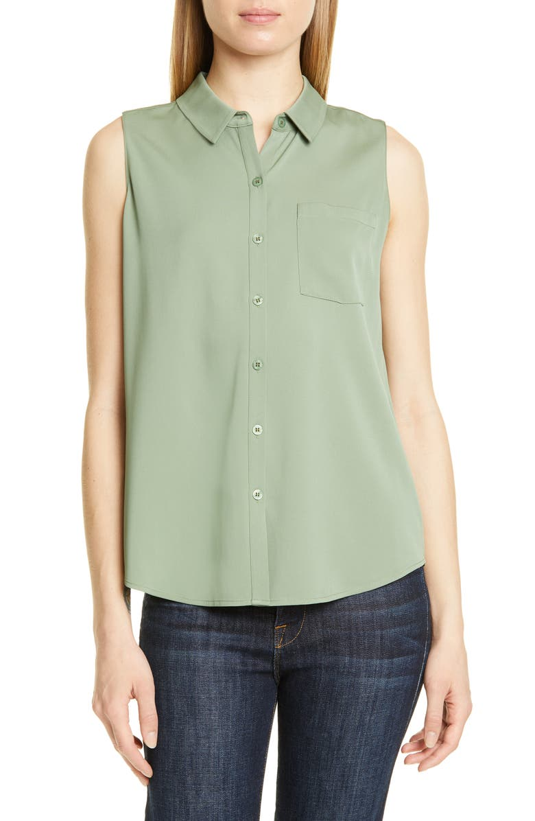 NORDSTROM SIGNATURE Sleeveless Stretch Silk Shirt, Main, color, GREEN DUNE