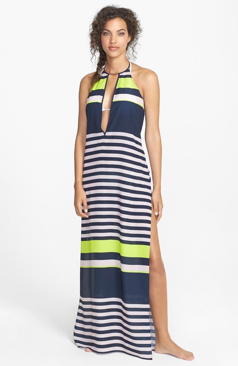 TED BAKER LONDON 'Loop' Stripe Plunge Cover-Up Maxi Dress, Main, color, 400