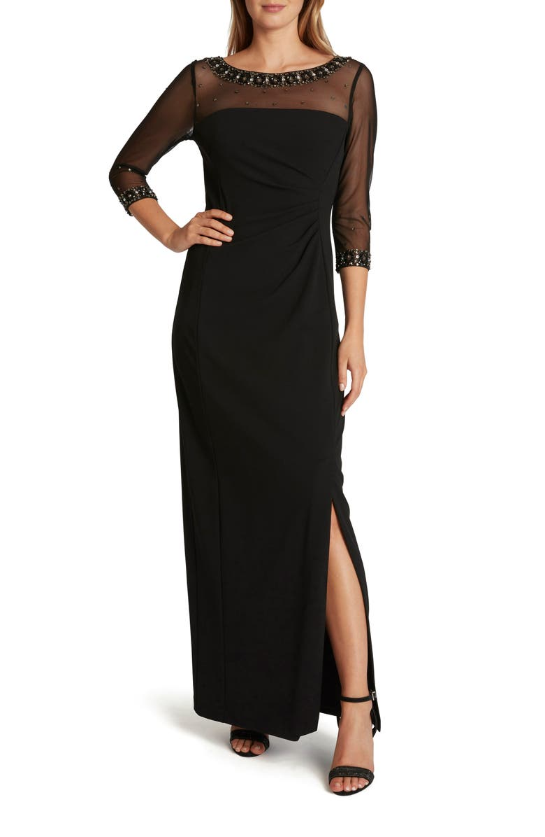 TAHARI Stretch Crepe Illusion Sleeve Gown, Main, color, BLACK