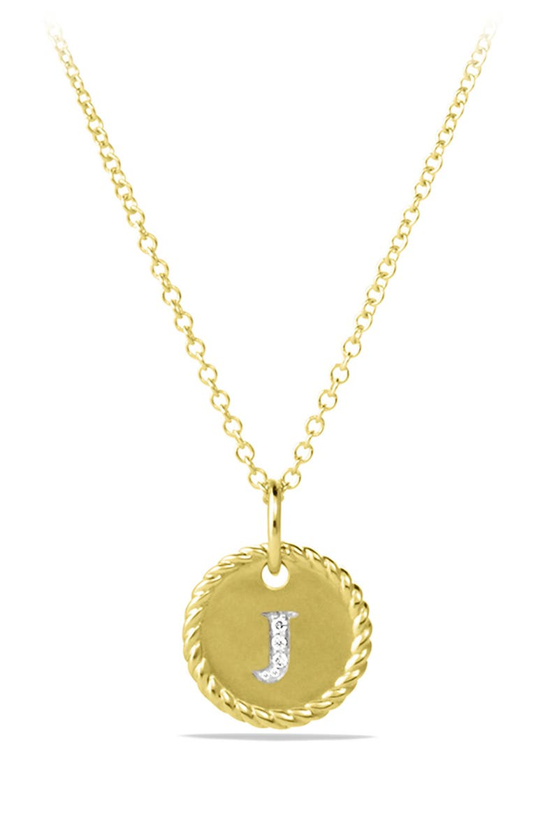 DAVID YURMAN Cable Collectibles Initial Pendant with Diamonds in Gold on Chain, Main, color, J