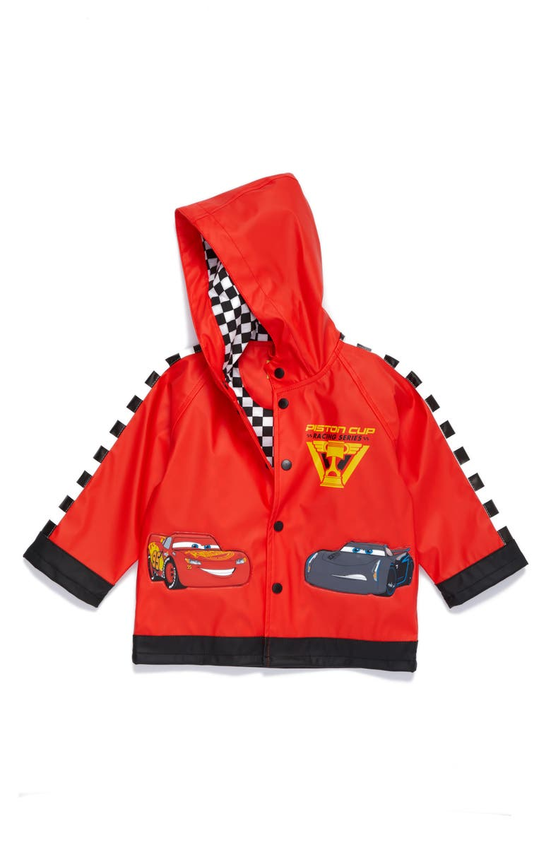 WESTERN CHIEF Lightning McQueen Hooded Raincoat, Main, color, RED