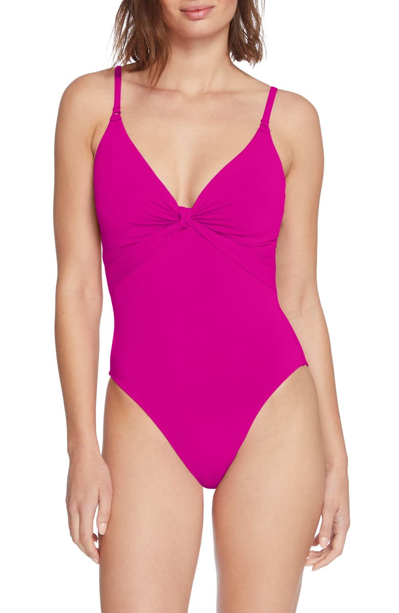 ROBIN PICCONE Olivia Knot Detail One-Piece Swimsuit, Main, color, FUCHSIA