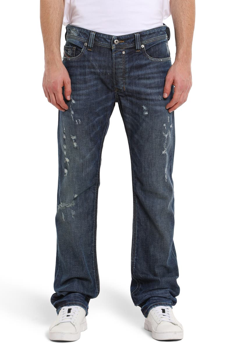 DIESEL<SUP>®</SUP> Safado Distressed Slim Straight Leg Jeans, Main, color, 400