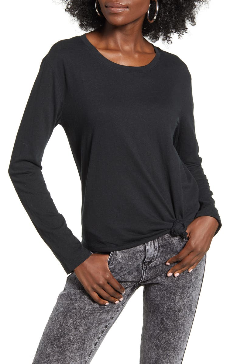BP. Knotted Long Sleeve Tee, Main, color, 001