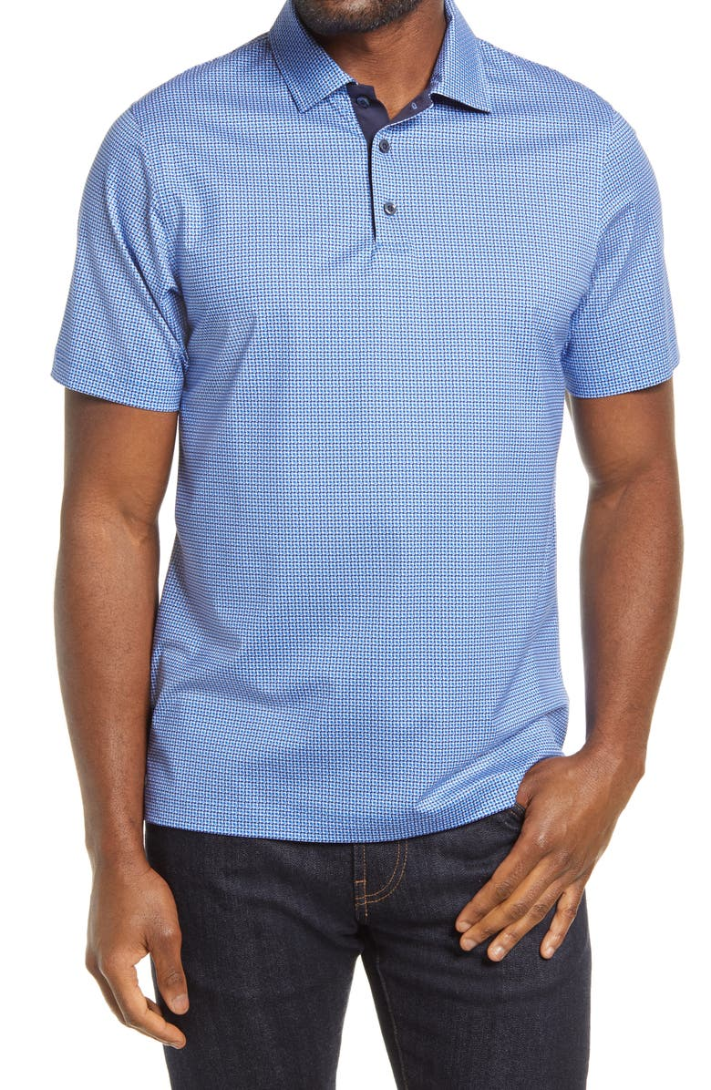 BUGATCHI OoohCotton<sup>®</sup> Tech Floral Stretch Polo, Main, color, 422