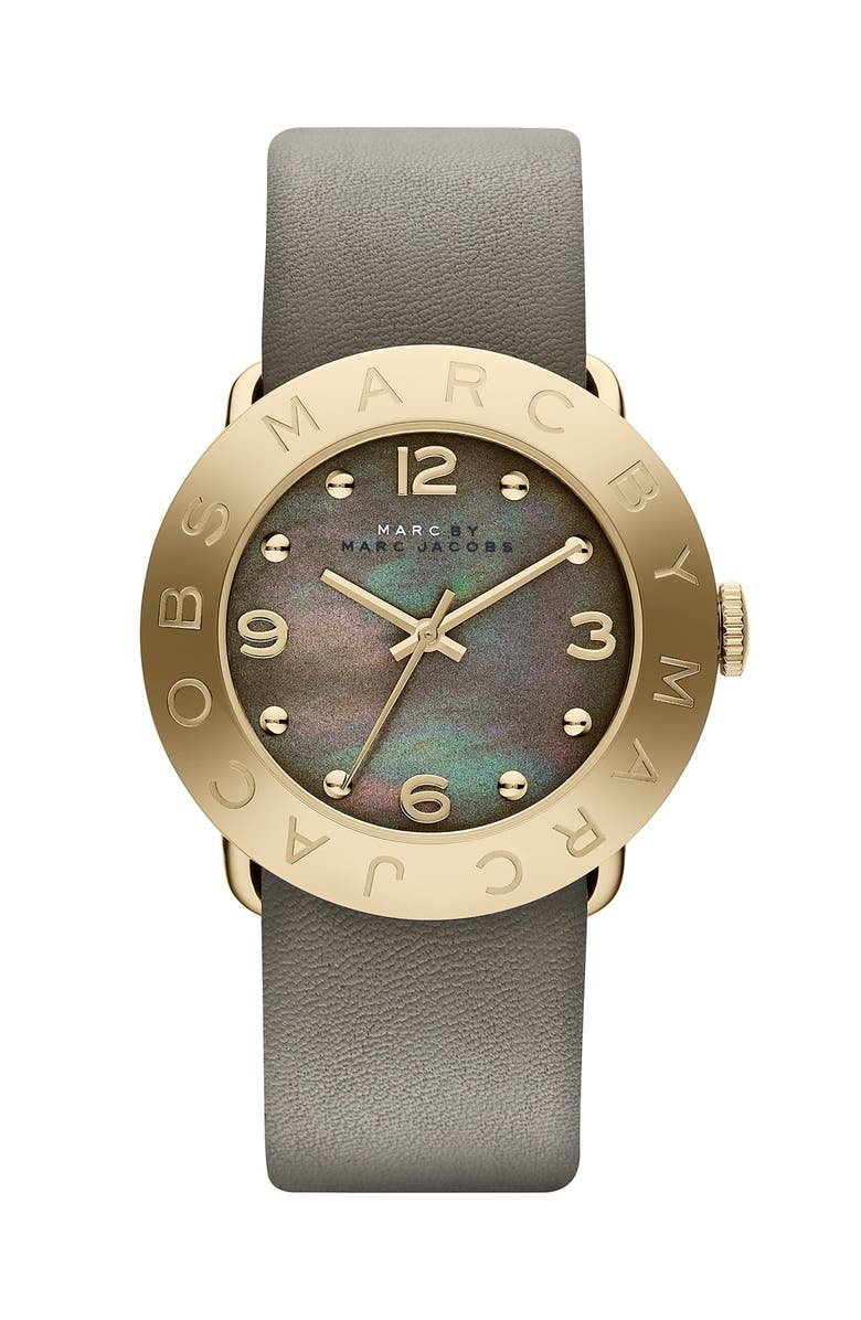 MARC JACOBS 'Amy' Leather Strap Watch, 36mm, Main, color, DIRTY MARTINI