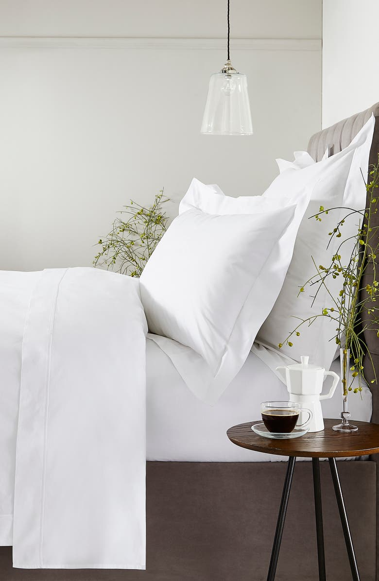 THE WHITE COMPANY Luxury Savoy Duvet Cover, Main, color, WHITE