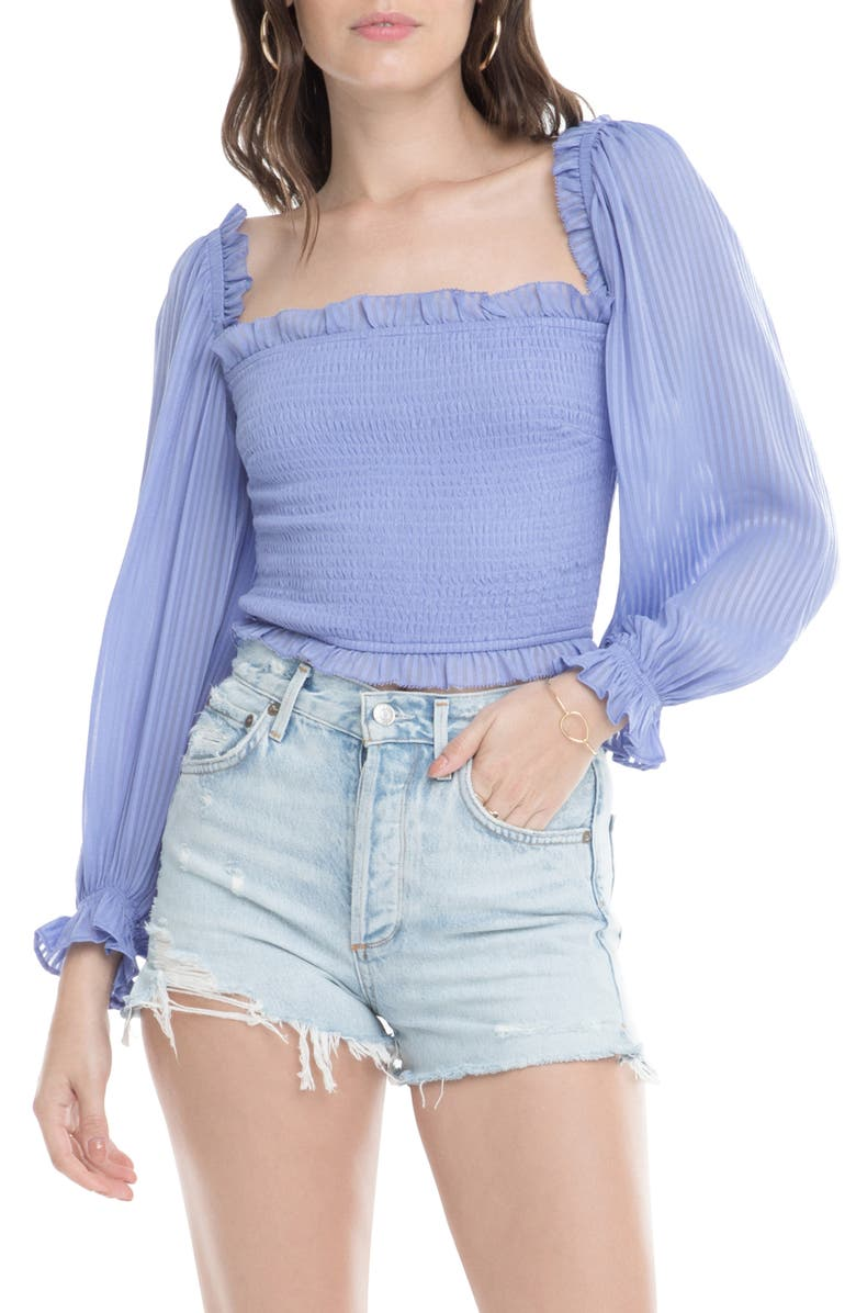 ASTR THE LABEL Smocked Balloon Sleeve Top, Main, color, PERIWINKLE SHADOW STRIPE
