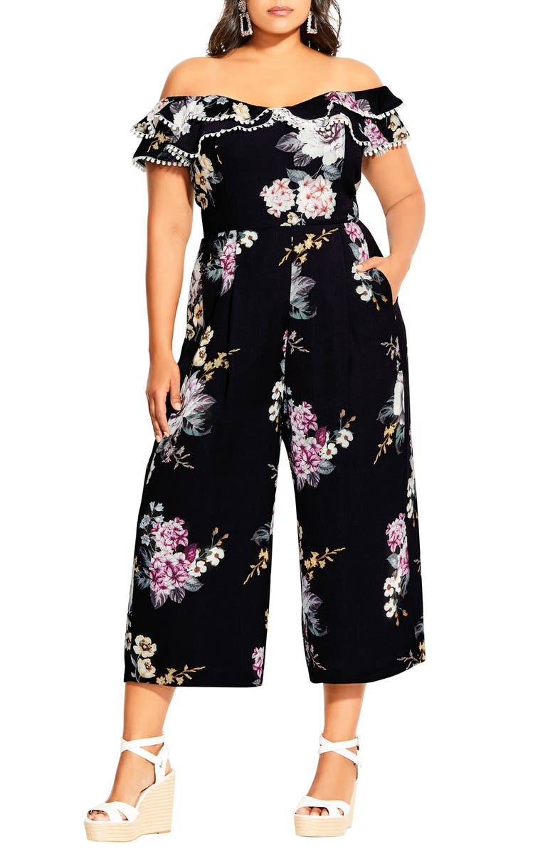 CITY CHIC Love Blooms Off the Shoulder Jumpsuit, Main, color, LOVE BLOOMS