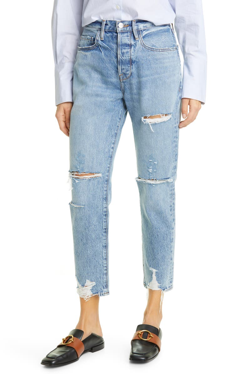 FRAME Le Original Ripped High Waist Ankle Boyfriend Jeans, Main, color, CASCADE BLUE RIPS