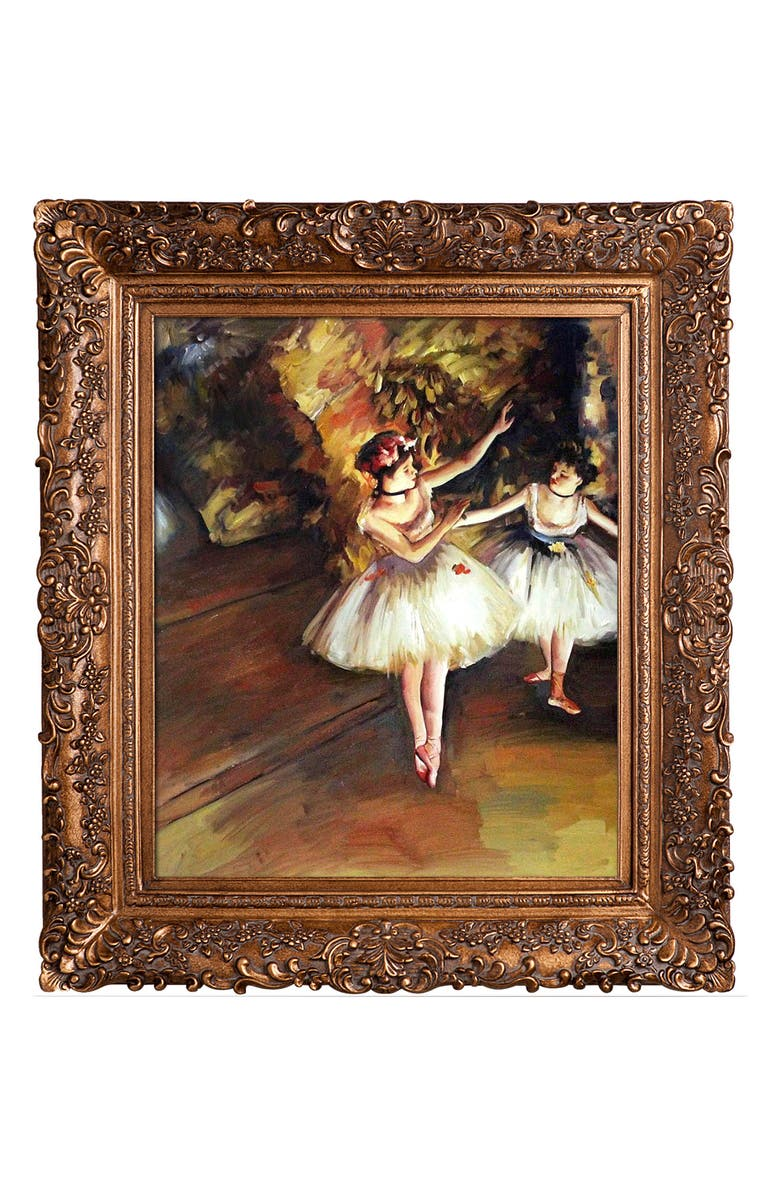 OVERSTOCK ART Edgar Degas Two Dancers on Stage Framed Canvas Wall Art, Main, color, MULTI