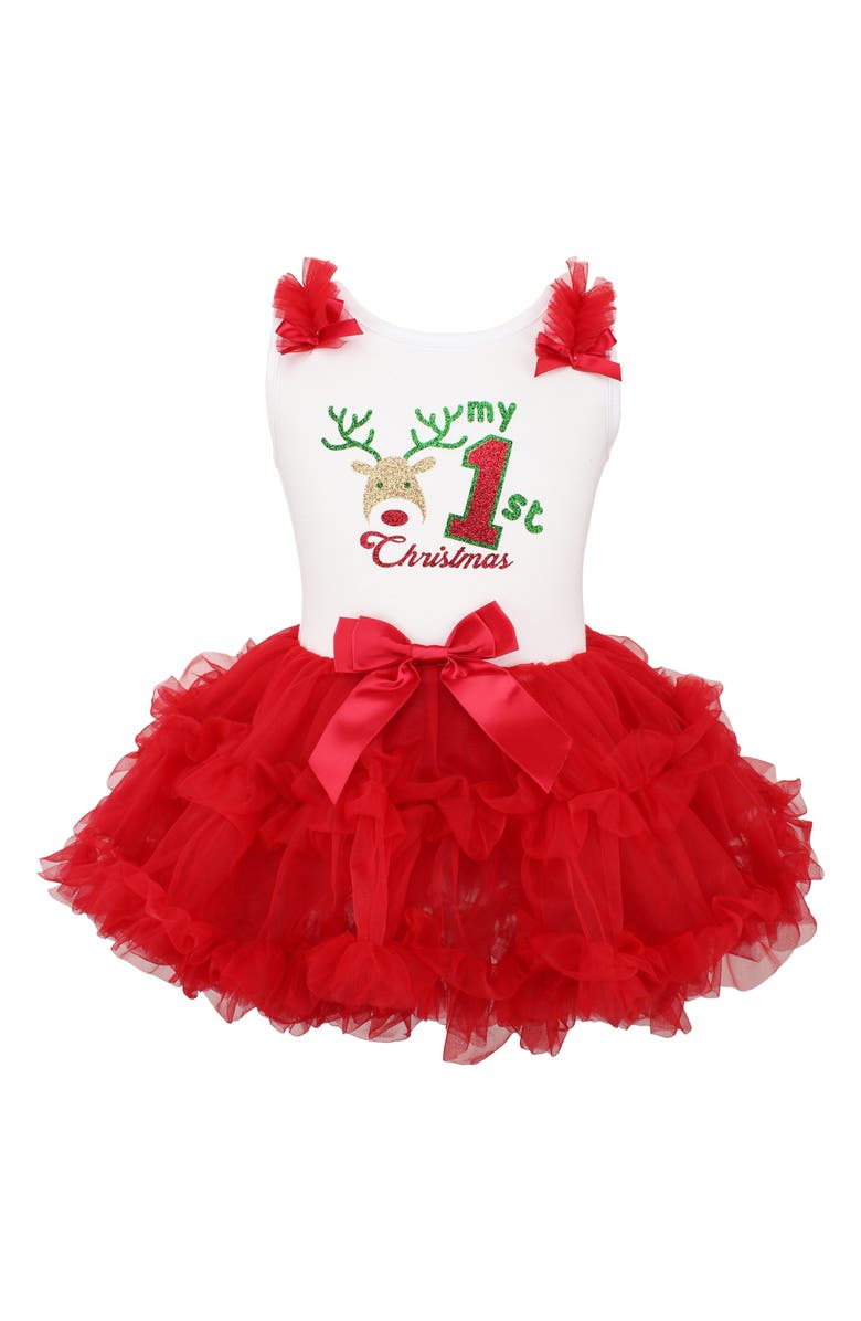 POPATU Deer First Christmas Sparkle Pettidress, Main, color, 630