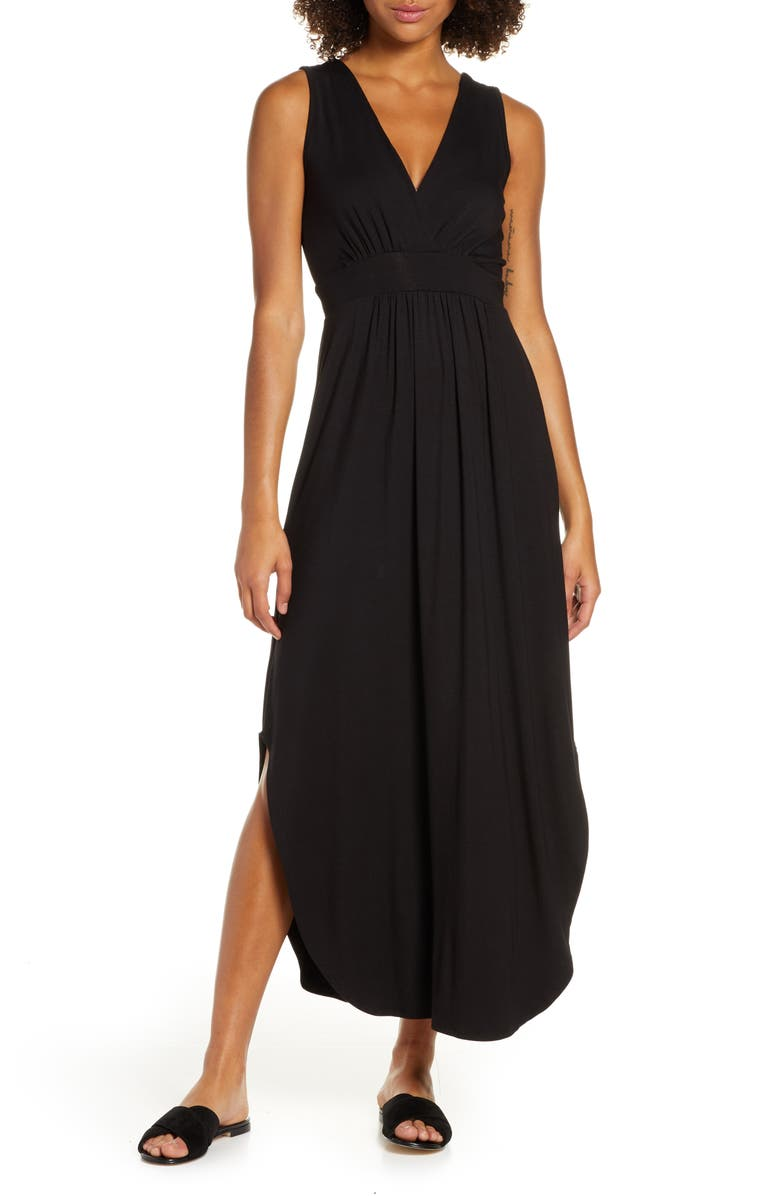 FRAICHE BY J V-Neck Jersey Maxi Dress, Main, color, BLACK