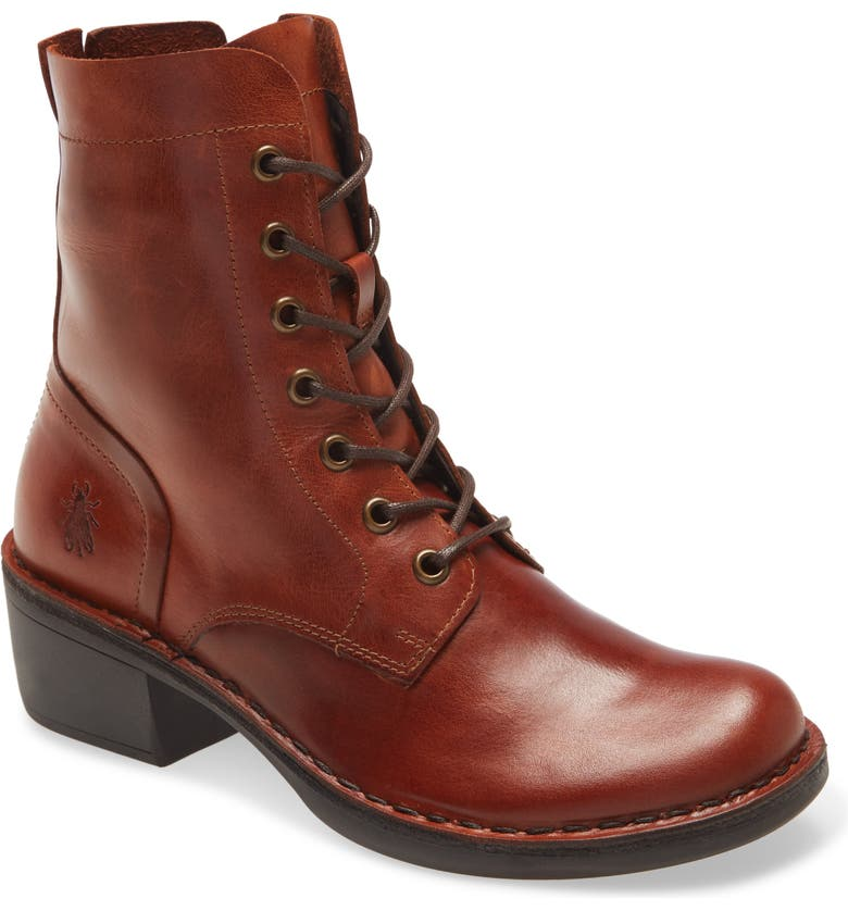 FLY LONDON Milu Lace-Up Leather Boot, Main, color, BRICK LEATHER