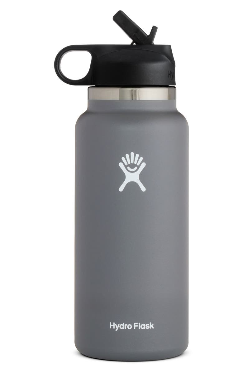 HYDRO FLASK 32-Ounce Wide Mouth Bottle with Straw Lid, Main, color, STONE