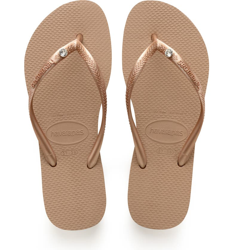 HAVAIANAS 'Slim Crystal Glamour' Flip Flop, Main, color, ROSE GOLD/ METALLIC ROSE GOLD