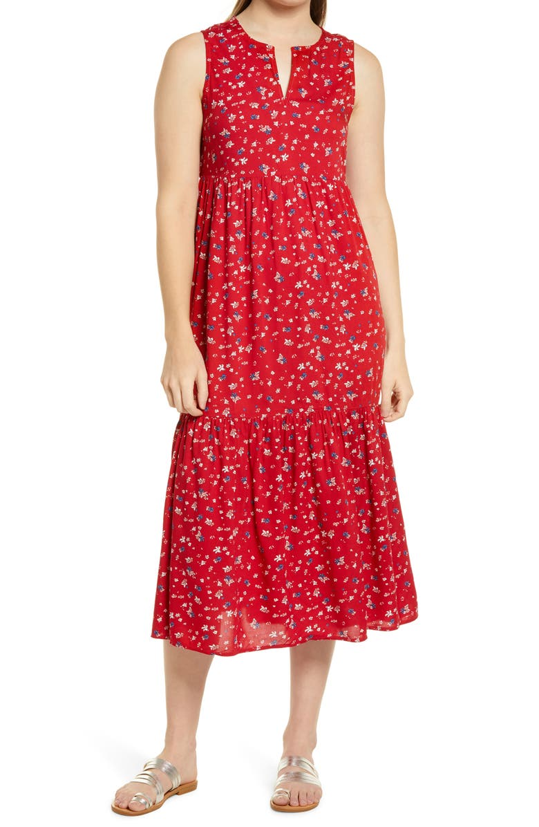 BEACHLUNCHLOUNGE Ireana Tiered Ruffle Midi Dress, Main, color, RUBY FLORAL