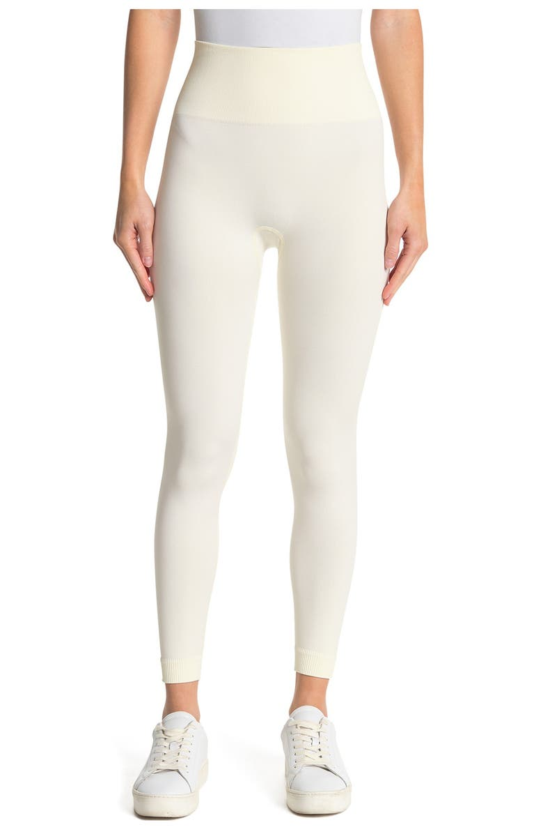 WE WORE WHAT Seamless Leggings, Main, color, OFF WHITE