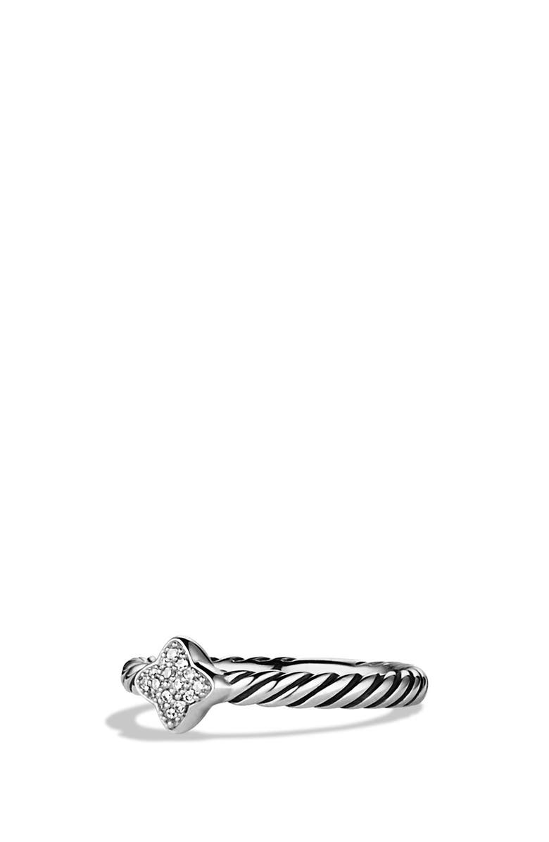 DAVID YURMAN Cable Collectibles Quatrefoil Ring with Diamonds, Main, color, DIAMOND