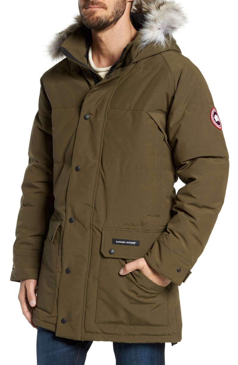 CANADA GOOSE Emory Slim Fit Genuine Coyote Fur Trim Parka, Main, color, MILITARY GREEN