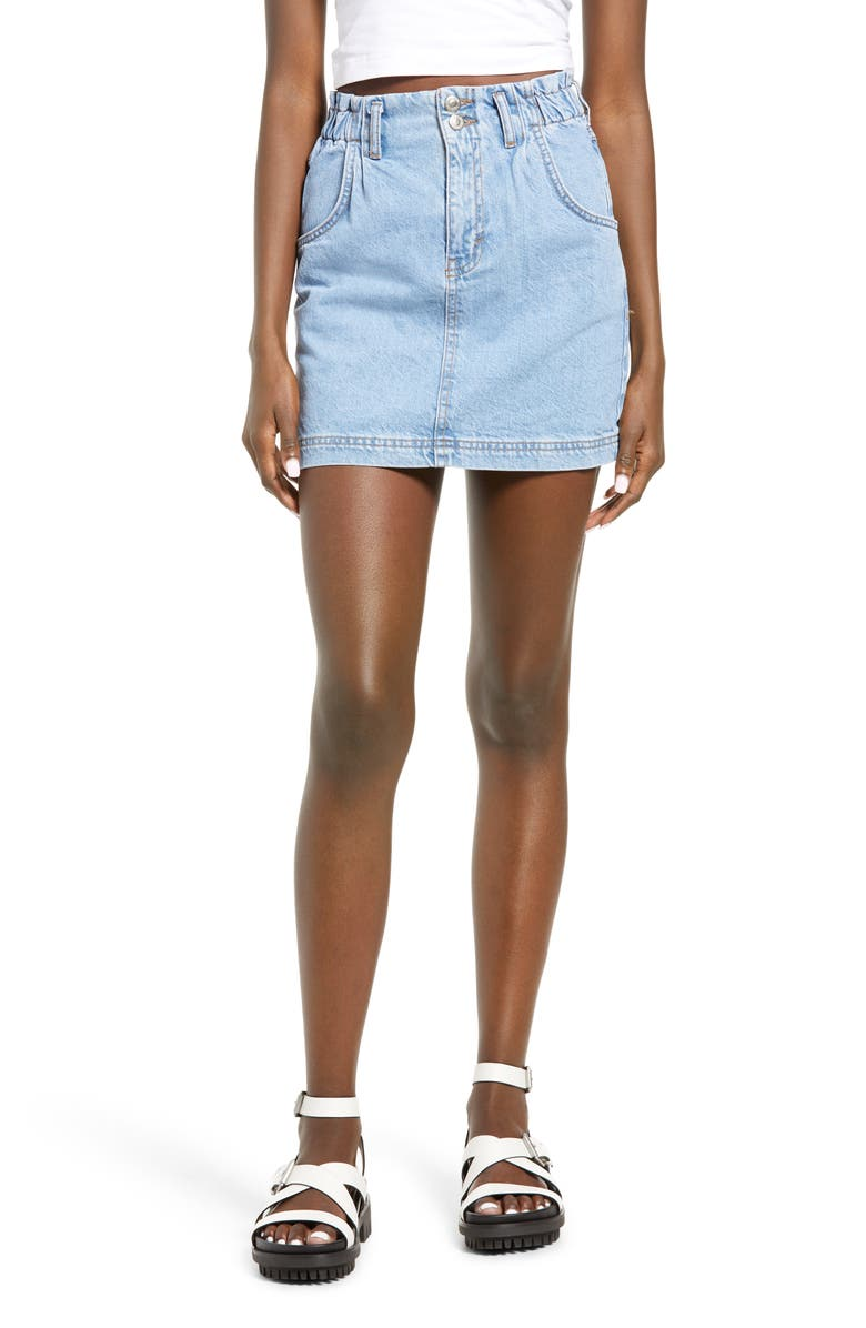 TOPSHOP Paperbag Waist Denim Miniskirt, Main, color, MID DENIM