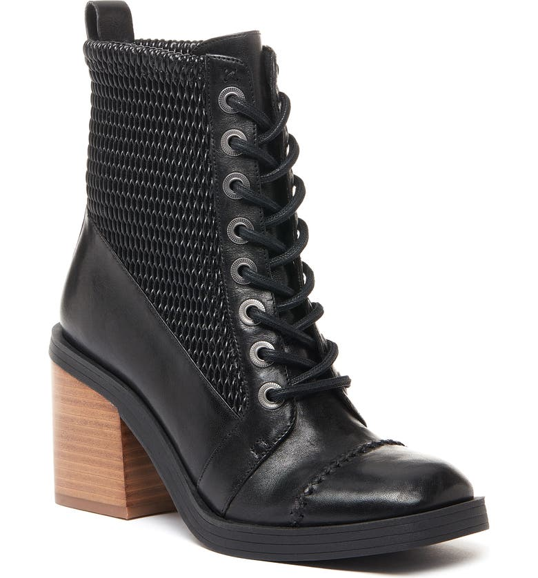 KELSI DAGGER BROOKLYN Weaver Lace-Up Bootie, Main, color, BLACK LEATHER