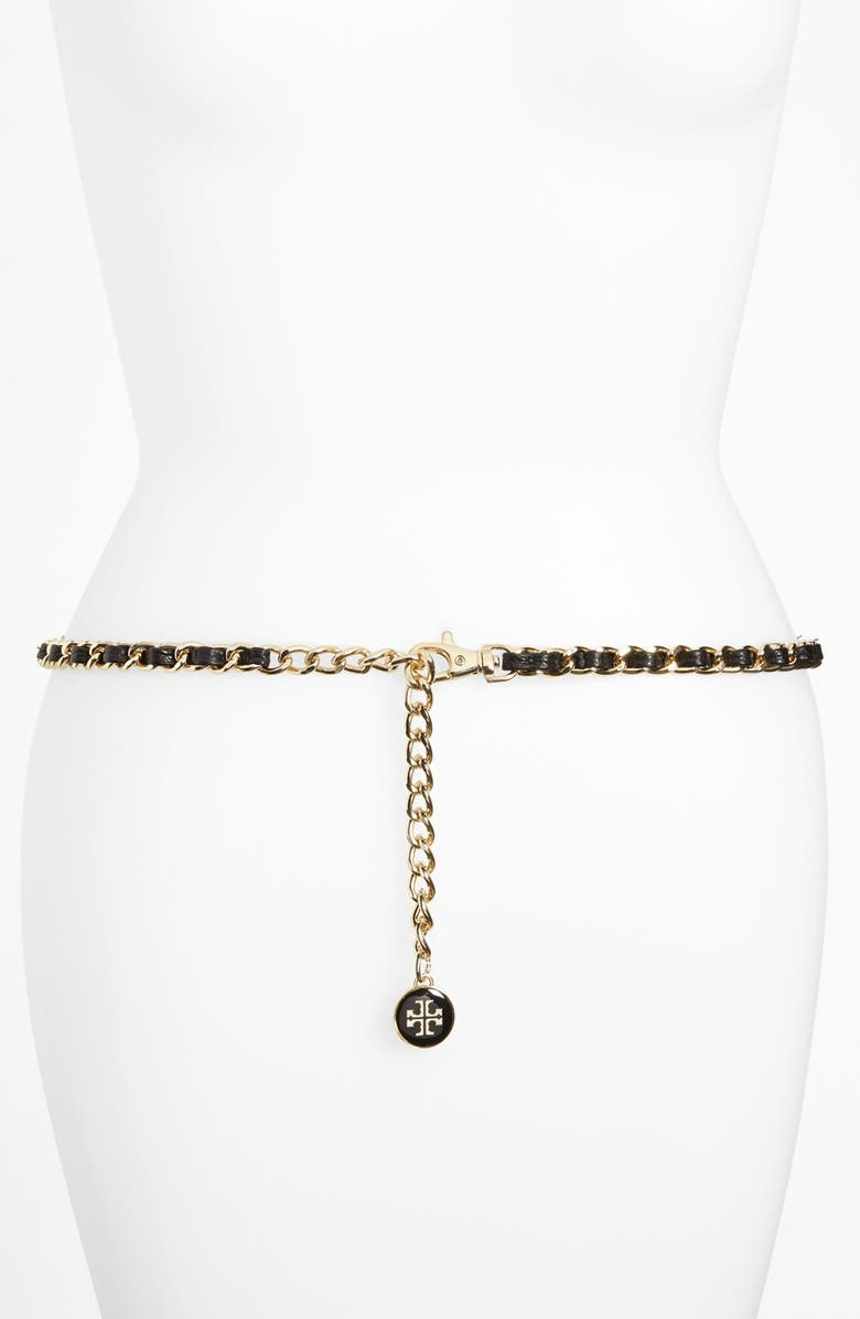 TORY BURCH Leather & Chain Belt, Main, color, Black