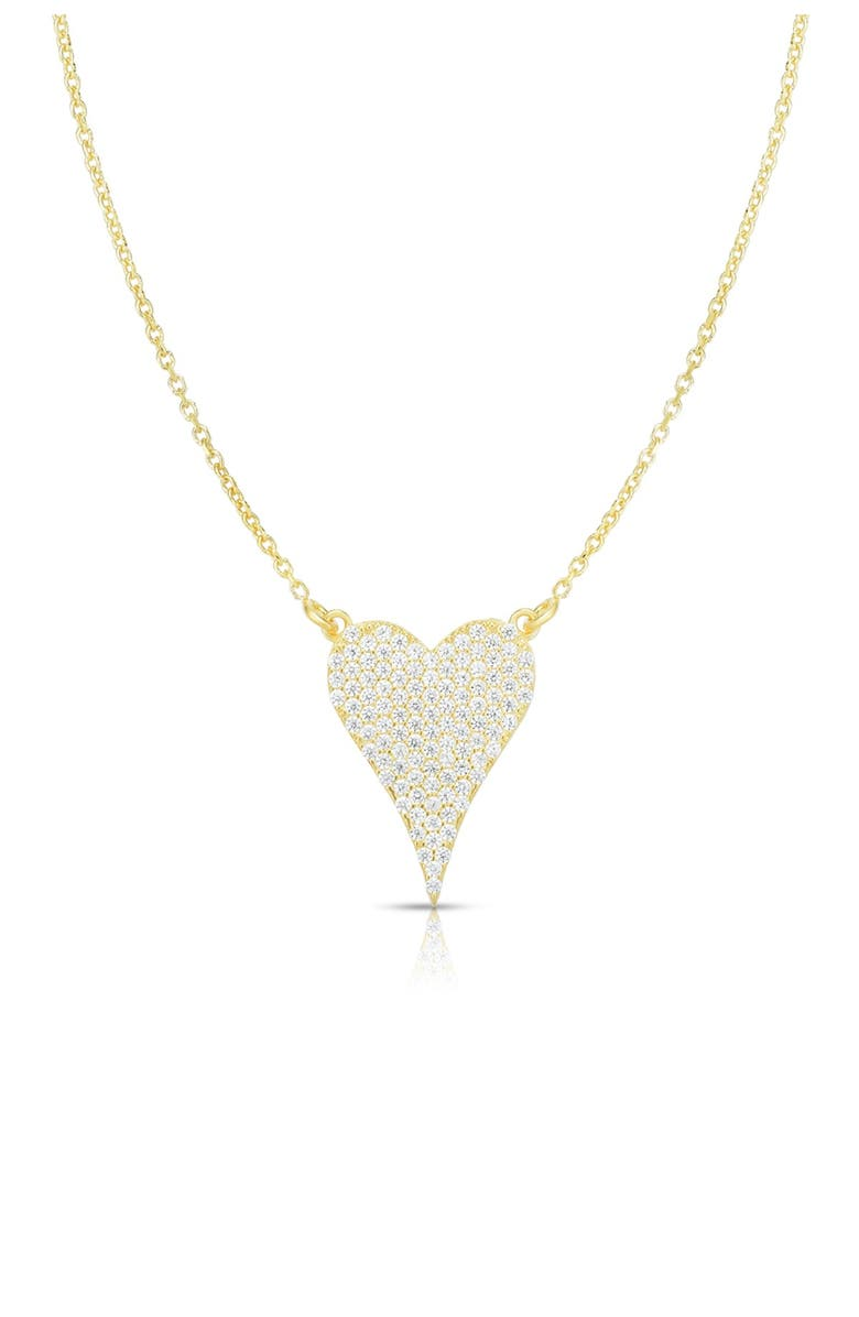 SPHERA MILANO 14K Yellow Gold Plated Sterling Silver Pave CZ Heart Pendant Necklace, Main, color, WHITE/YELLOW GOLD