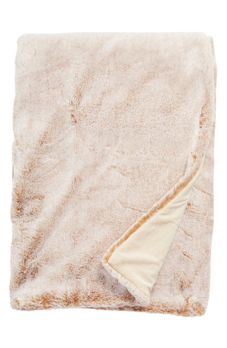 RACHEL PARCELL Favorite Faux Fur Oversize Throw Blanket, Main, color, TAN PRALINE FROSTED
