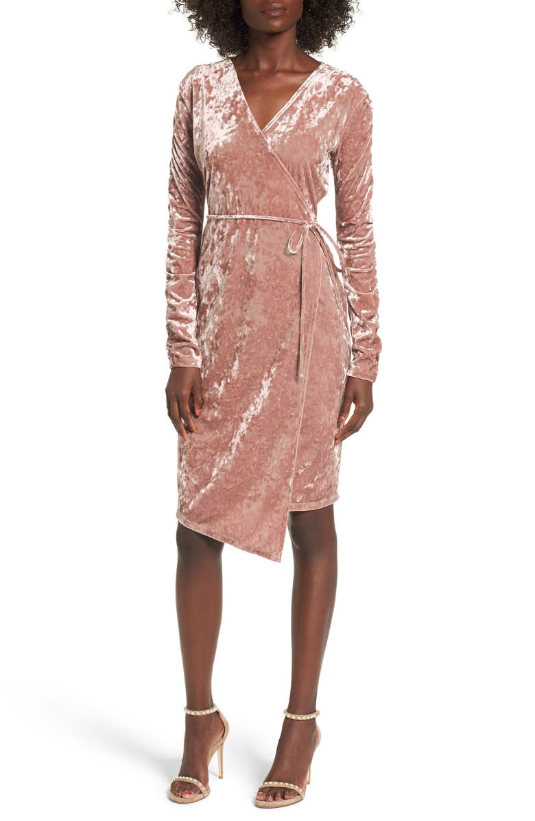 LEITH Ruched Velour Wrap Dress, Main, color, 680