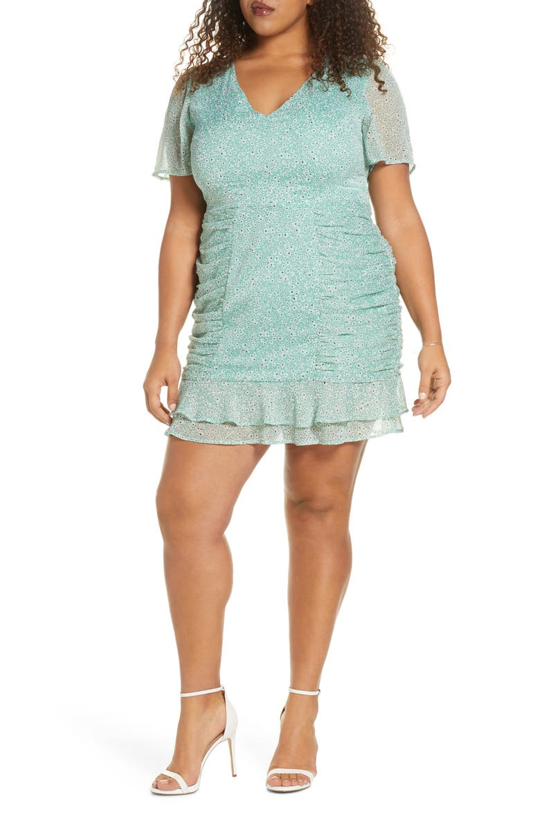 LEITH Ruched Chiffon Minidress, Main, color, 310