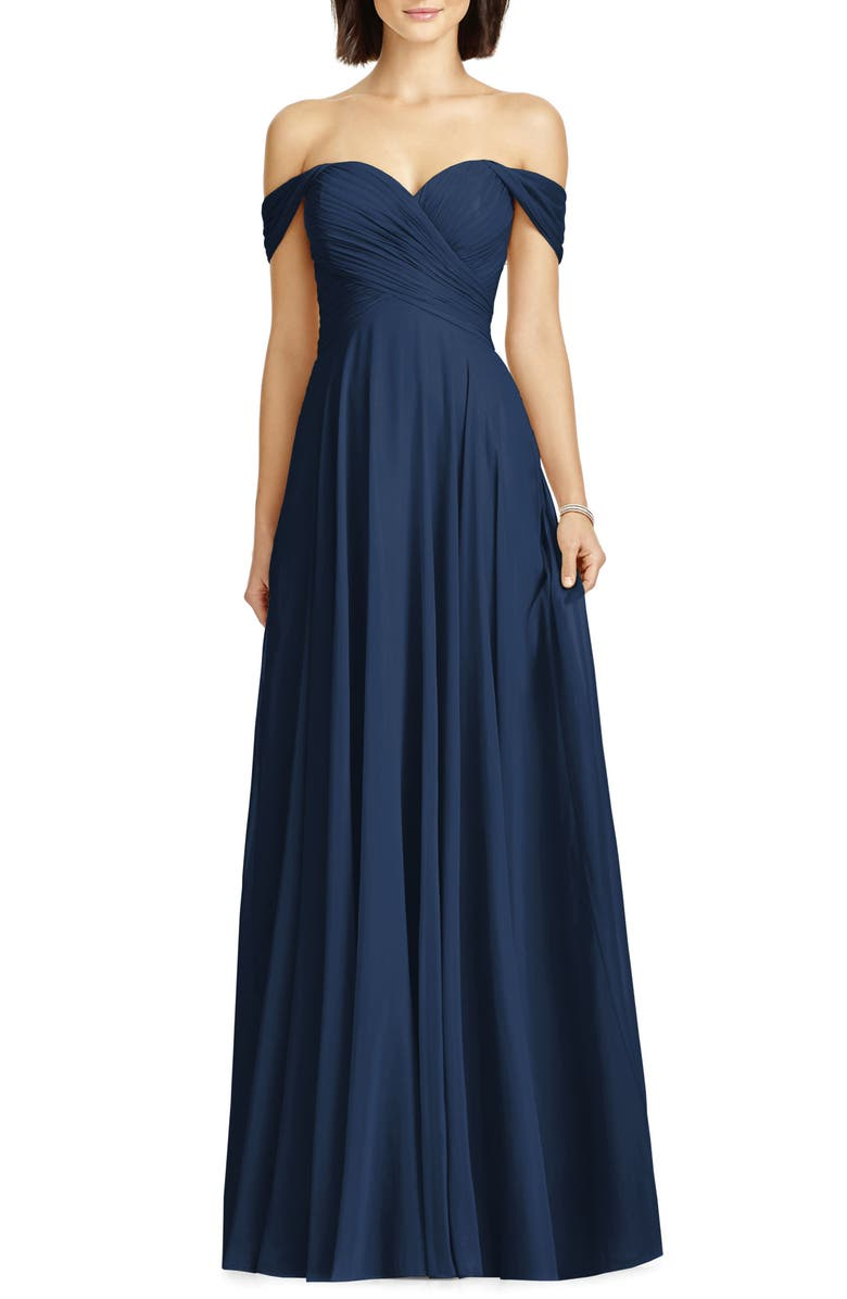 DESSY COLLECTION Lux Off the Shoulder Chiffon Gown, Main, color, MIDNIGHT