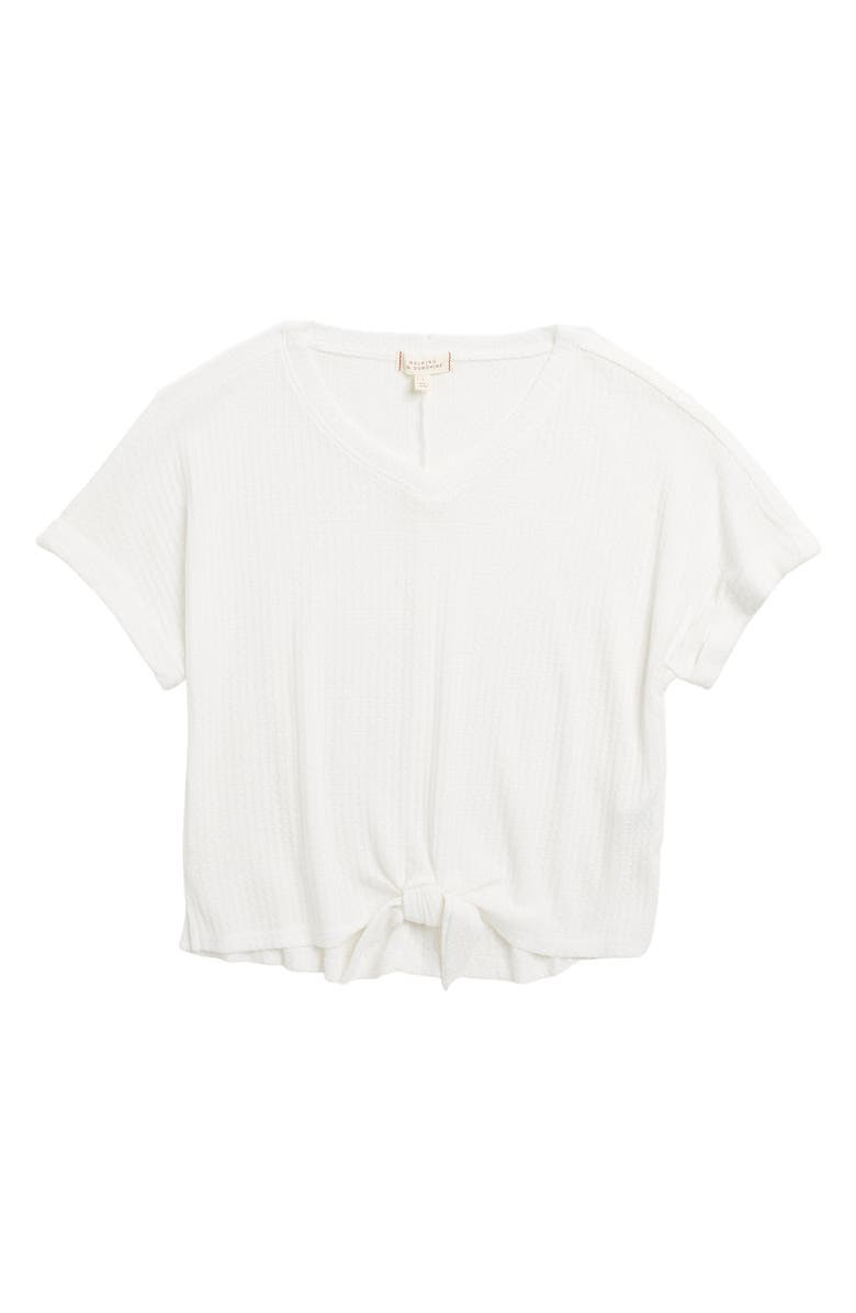WALKING ON SUNSHINE V-neck Waffle Knit Tie Front Top, Main, color, WHITE