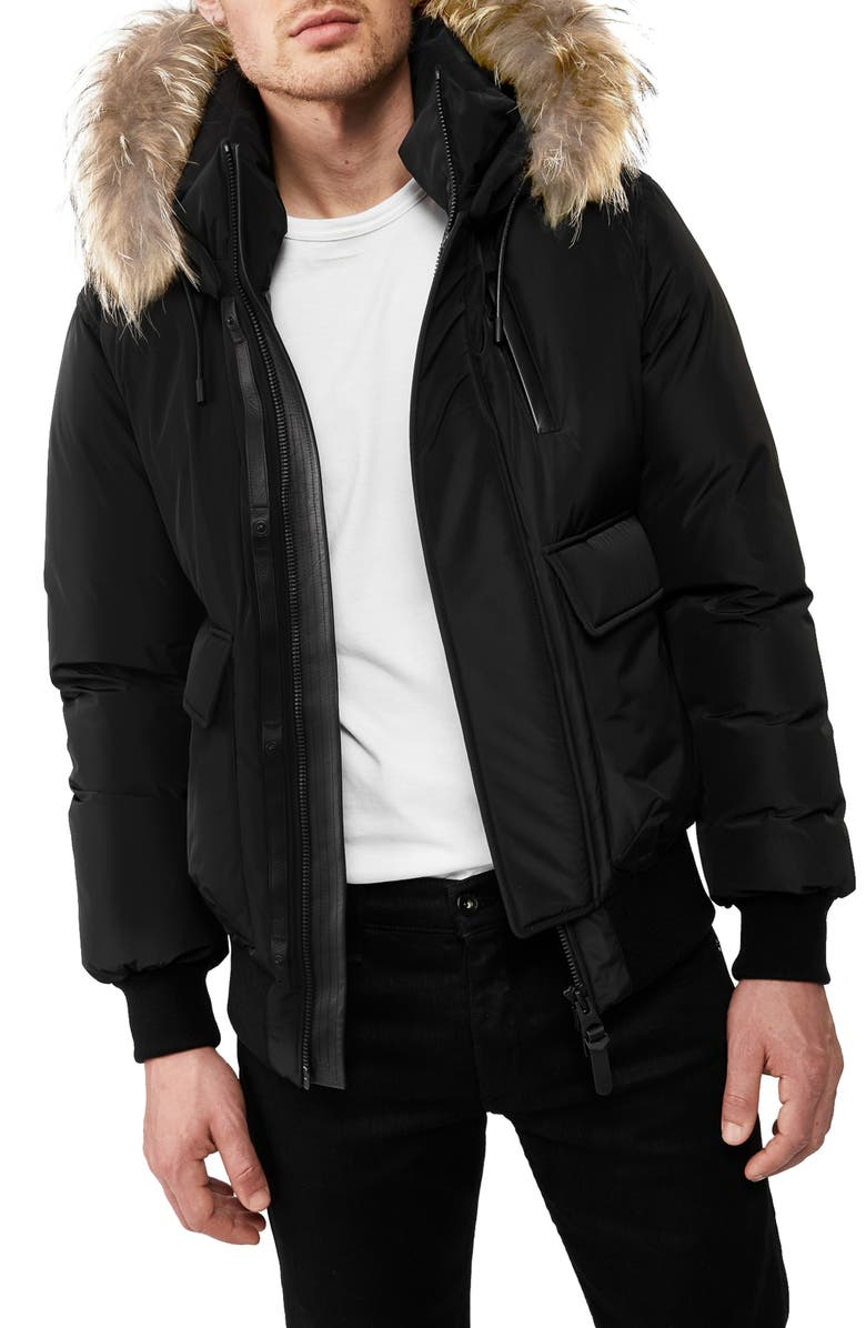MACKAGE Nathan Water Repellent Hooded Down Bomber Jacket with Genuine Coyote Fur Trim, Main, color, BLACK