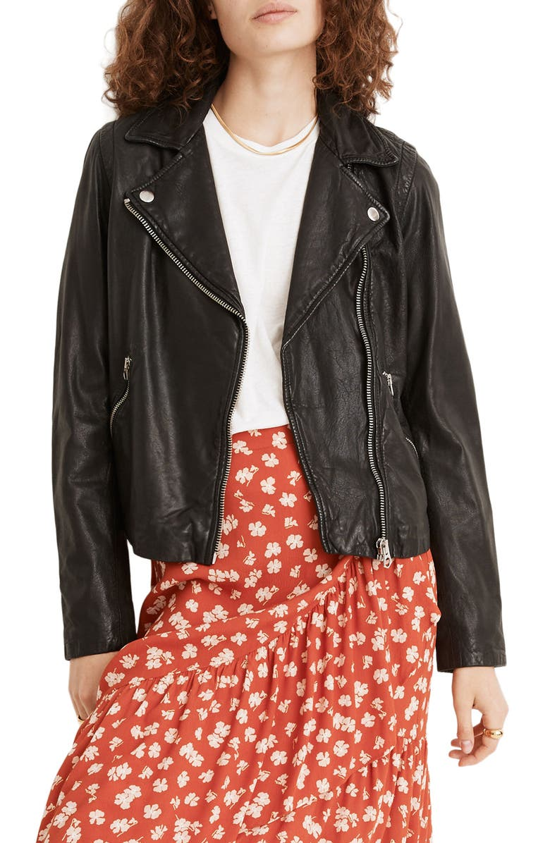 MADEWELL Washed Leather Moto Jacket, Main, color, TRUE BLACK