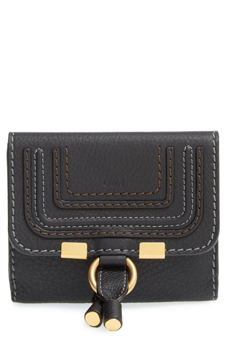 CHLOÉ Marcie Leather French Wallet, Main, color, BLACK