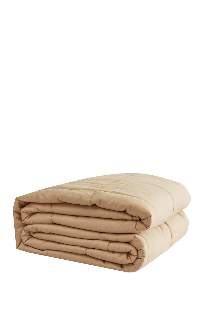 """PUR SERENITY 15 lbs Cotton Weighted Blanket 48""""x 72""""- Tan, Main, color, TAN"""