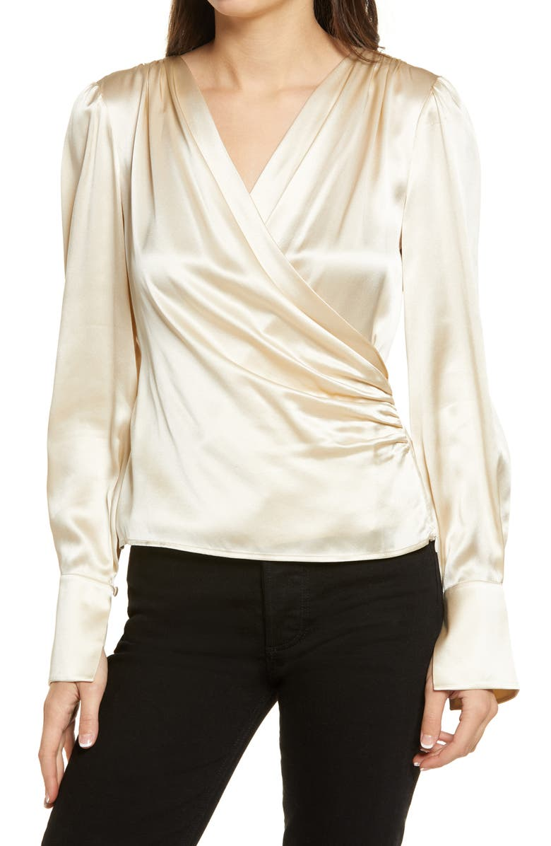 REFORMATION Fawn Silk Blouse, Main, color, 900