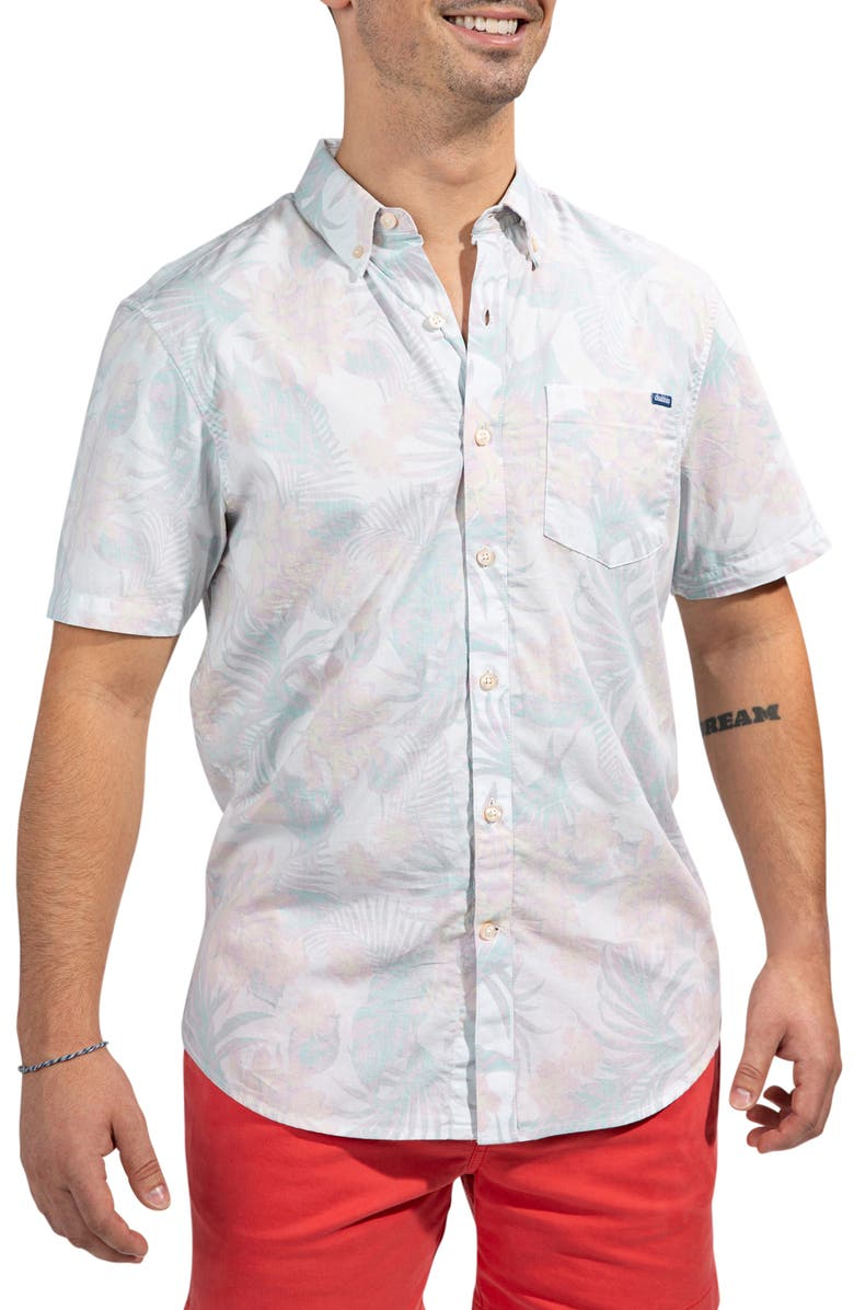 CHUBBIES The Flordom Floral Short Sleeve Button-Down Shirt, Main, color, OPEN WHITE