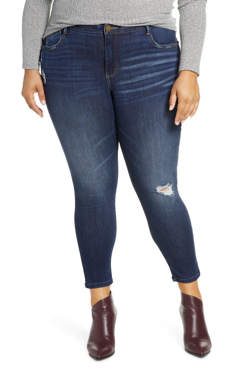 WIT & WISDOM Ab-Solution Ripped High Waist Ankle Skinny Jeans, Main, color, 420