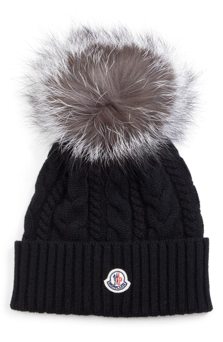 MONCLER Cable Knit Beanie with Genuine Fox Fur Pom, Main, color, 001