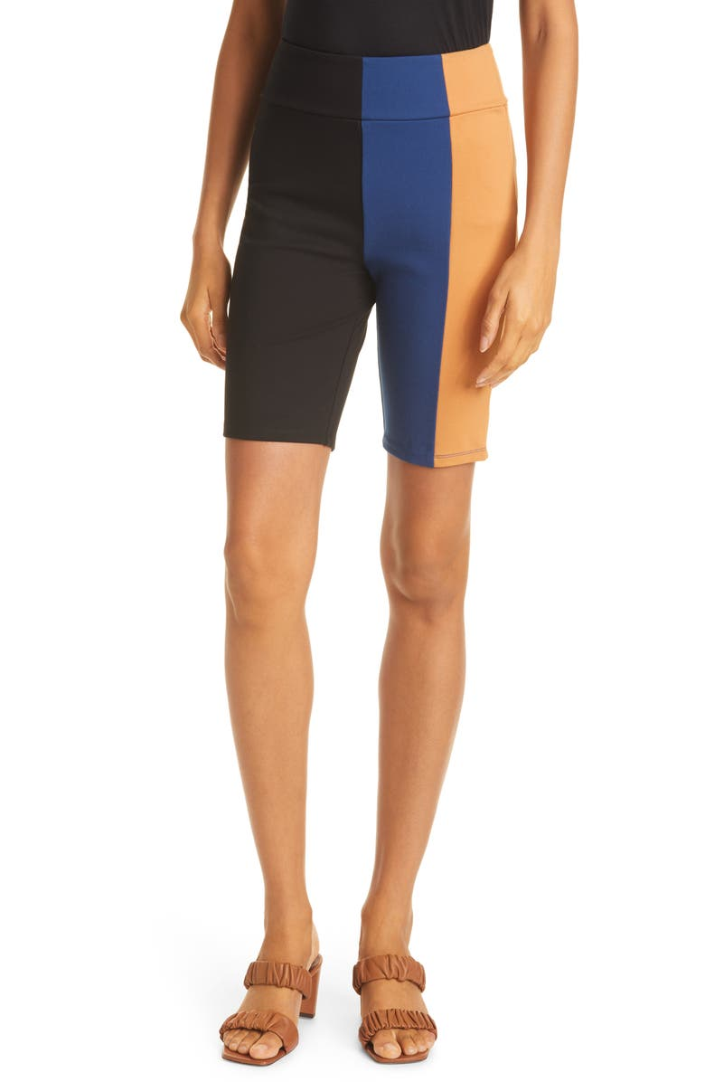STAUD Cruise Bike Shorts, Main, color, BLACK/ TWILIGHT/ CARAMEL