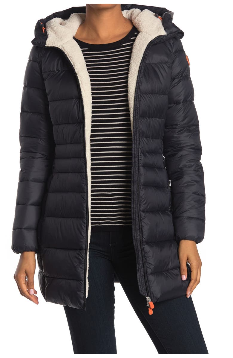 SAVE THE DUCK Giga Faux Shearling Lined Puffer Jacket, Main, color, 01 BLACK