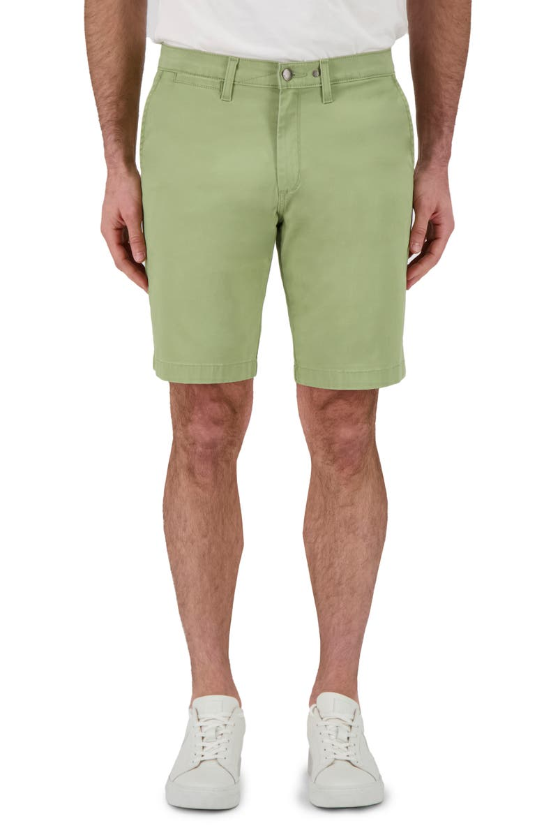DEVIL-DOG DUNGAREES Flat Front Twill Shorts, Main, color, CABIN OLIVE