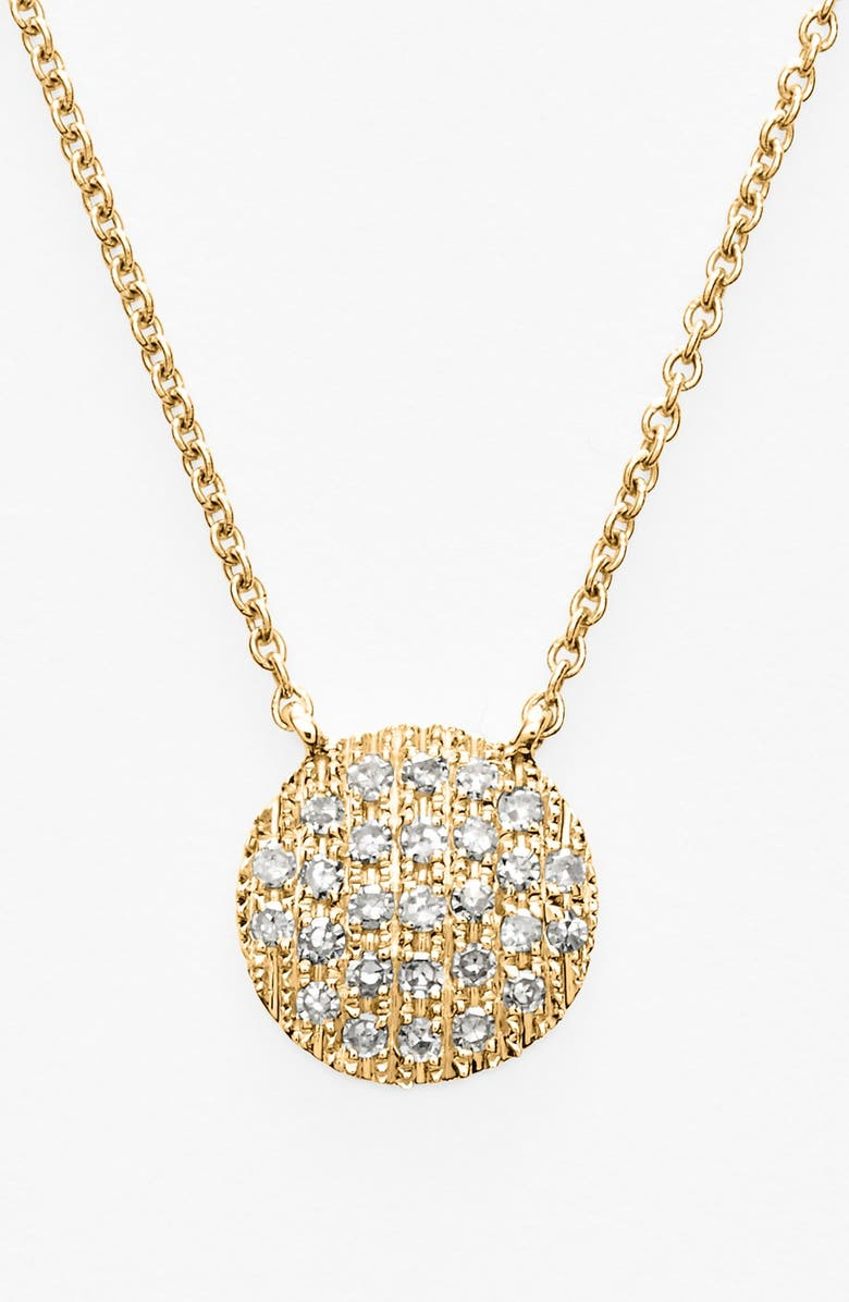 DANA REBECCA DESIGNS 'Lauren Joy' Diamond Disc Pendant Necklace, Main, color, YELLOW GOLD