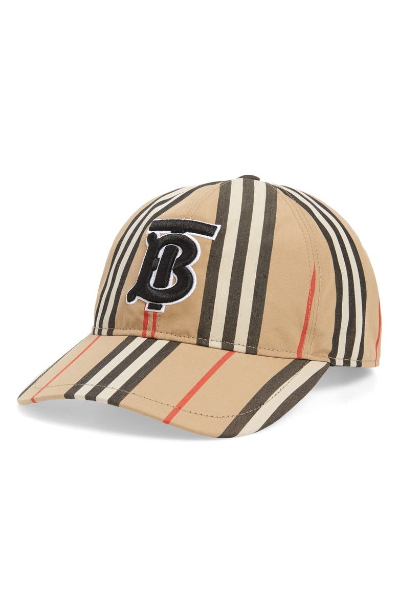 BURBERRY Logo Icon Stripe Baseball Cap, Main, color, ARCHIVE BEIGE