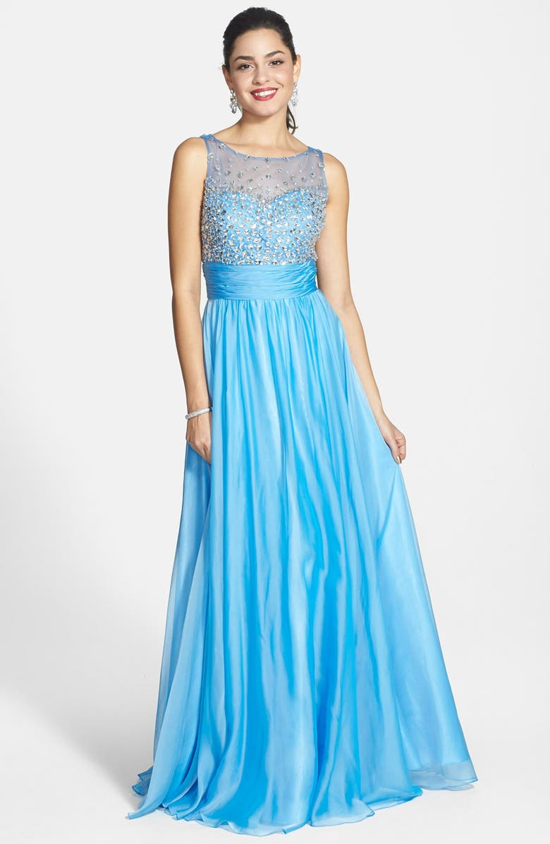 SEAN COLLECTION Beaded Illusion Chiffon Gown, Main, color, PERIWINKLE