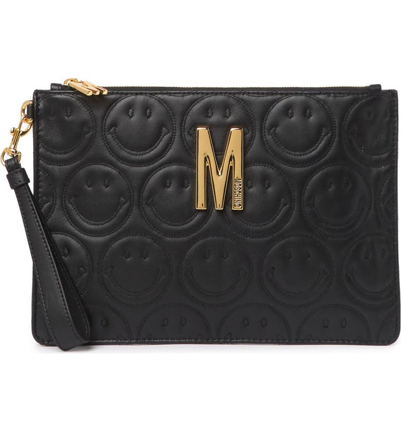 MOSCHINO Logo Smiley Leather Wristlet Clutch, Main, color, BLACK